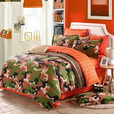 burnt orange forest green brown and beige modern camouflage print abstract design unique 100 cotton full queen size bedding sets for boys