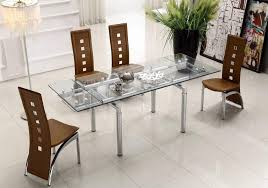dining sets with chairs extendable clear glass top leather modern dining table sets