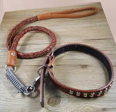<b>Cowhide</b> collar+leash strong Real Leather big <b>dog collar</b> High ...