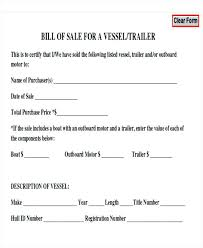 Free And Printable Boat Bill Of Sale Form Standard 3 – Trufflr