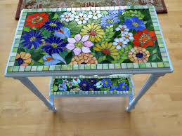 blue tile patio table brick mosaic tile broken glass mosaic