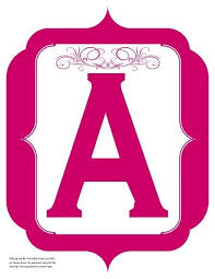 Fancy Pink Violet Printable Banners Letters Numbers