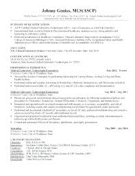 Sample Resume For Medical Lab Technician Dew Drops