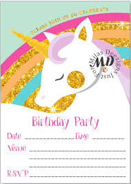 Online Printable Birthday Party Invitations Fill In Unicorn Printable Birthday Invitation Milasdeezigns