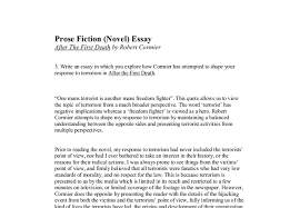 prose fiction novel essay after the first death by robert  document image preview
