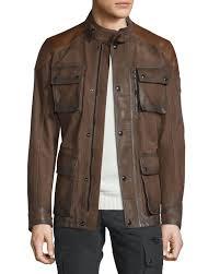 belstaff trialmaster calfskin leather jacket oak brown