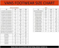 Vans Toddler Size Chart Inches Image Result For Vans Shoe Size Chart Kids And Womens In