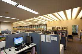 lighting in an office. before upgrade t12 linear fluorescent indoor lighting in an office