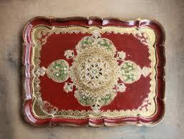 Vassoi In Legno Fiorentini : Vassoio fiorentino rosso oro nero verde di bididivintage