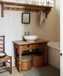 wood tables as bathroom vanities