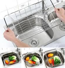 adjule dish drainer rack stainless steel dish basket over the sink rustproof storage utensil for kitchen