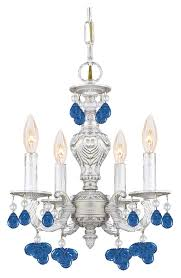 crystorama 5224 aw blue sutton 4 candle antique white mini chandelier blue crystal loading zoom
