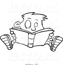 cartoon drawing books drawings of children reading book outlined coloring page drawing