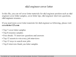 Cover Letter Engineering Stunning Rd Engineer Cover Letter