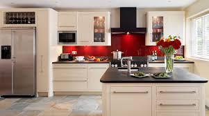 Splashback For Kitchens Linear Kitchen With Red Glass Splashback From Harvey Jones
