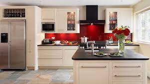 Kitchen Glass Splashback Linear Kitchen With Red Glass Splashback From Harvey Jones