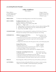 Accounting Internship Resume Objective Impression Picture Collection