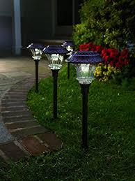 garden path lights. Set Of 4 Solar Garden Path Lights, Glass And Powder Coated Cast Aluminum Metal, Lights O