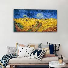 home shop home decor wall art  on famous wall art prints with wieco art wheatfield with crows large modern framed giclee canvas