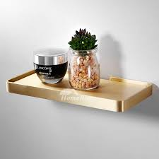 8 home spa ideas to cleverly add luxury to your bathroom space with plants, bucolic elements and vibrantly patterned wall ideas. Simple Gold Luxury Bathroom Shelves Wall Mounted Brushed Brass Glass Phone Holder Decorative Shower Small Wall Shelf