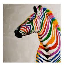 colourful zebra canvas wallspainted