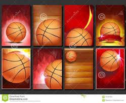 Design Basketball Basketball Poster Set Vector Empty Template For Design