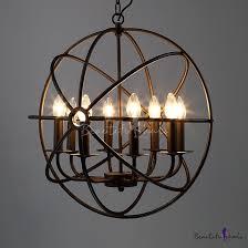 industrial black led orb chandelier 8 light metal hanging light with globe cage for kitchen restaurant barn onlywonderful com
