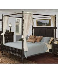 New Classic Martinique Rubbed Black Cal.King Canopy Bed With Drapes by New Classic from ColemanFurniture | BHG.com Shop