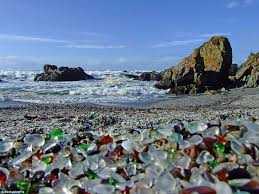meeting of two worlds sea glass now covered the surf on glass beach in fort