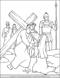 The cross coloring pictures is a coloring image of cross decorated with flowers. Stations Of The Cross Coloring Pages The Catholic Kid