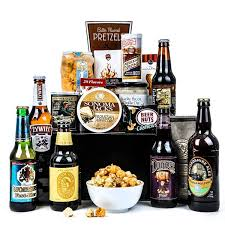 around the world beer basket an international taste of beers and pub grub all in one unique gift basket includes six international premium beers along