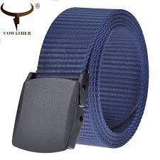 cowather mens canvas belt for men military tactical web belts flip top black buckle outdoor