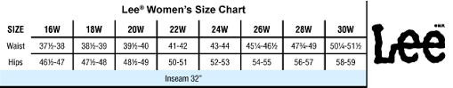 Lee Jeans Size Chart Lee Womens Jeans Size Chart The Best Style Jeans