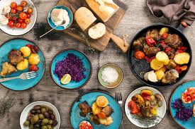 Dinner Table With Variety Food Top View Stock Photo Image of
