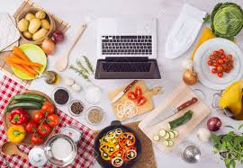 kitchen table with food. Exellent Food Home Kitchen Table Top View With Laptop Food Ingredients Raw Vegetables  Kitchenware And Throughout Kitchen Table With Food N