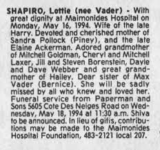 Lottie Shapiro - Newspapers.com