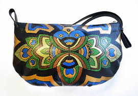 custom made peacock leather purse hand painted purse peacock small bag colorful bag by ponko world custommade com
