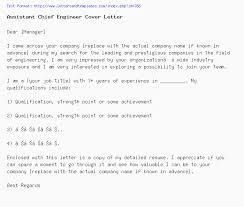 Assistant Chief Engineer Cover Letter Job Application Letter