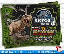 Jurassic Park Invitations Jurassic World Invitation Jurassic Park Invite Digital Birthday Invitation Children Printable Card Jurassic Birthday Invitation