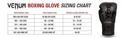 Boxing Glove Size Chart Venum Challenger 3 0 Boxing Gloves