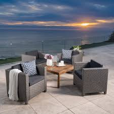 christopher knight home puerta grey outdoor wicker sofa set. Puerta-Outdoor-5-piece-Wicker-Seating-Set-with- Christopher Knight Home Puerta Grey Outdoor Wicker Sofa Set A