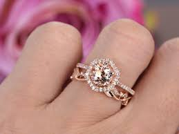 Design Your Own Morganite Engagement Ring Round Morganite Engagement Ring Sets Pave Diamond Wedding