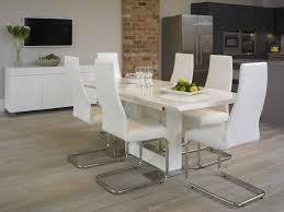 trestle dining table white leather chairs