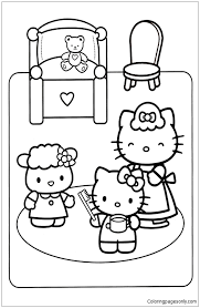Small Picture Hello Kitty To Go To Bed Coloring Page Free Coloring Pages Online