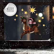 Fensterbild Weihnachtsdeko Mädchen Reh Sterne