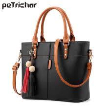 petrichor large capacity soft leather tassel tote bag women handbag