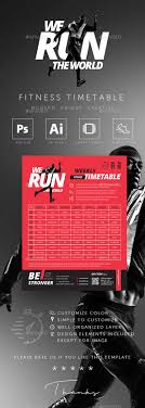 Fitness Gym Group Class Timetable Templates By Rocketpixel ...