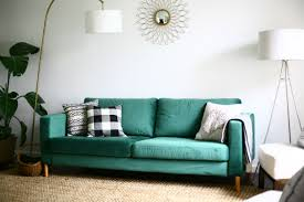 our statement sofa comfortworks green velvet ikea cover slipcover for karlstad stockholm room these vintage chairs