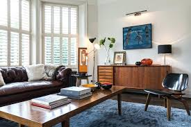 mid century modern eclectic living room. Mid Century Living Room Eclectic Blue Armchairs Combined Red Painted Wall White Modern
