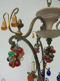 vintage antique italian murano glass fruit and crystal chandelier